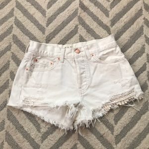 Free People white cutoff shorts